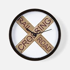 Rail Crossing Wooden Sign Wall Clock