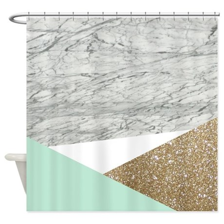 Geometric Mint Gold Glitter Marble Shower Curtain By Admin Cp62325139