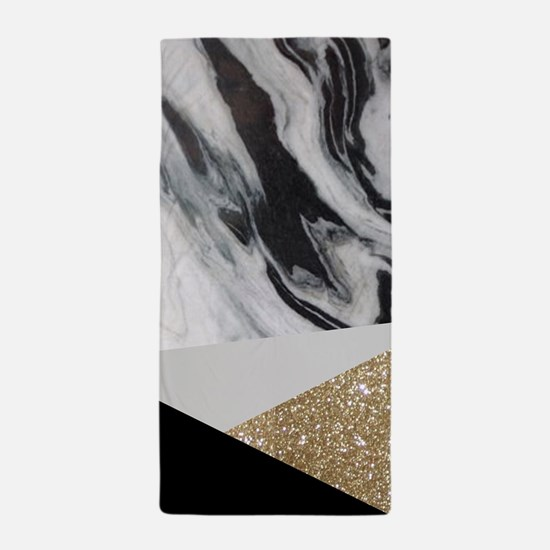 contemporary gold glitter marble Beach Towel