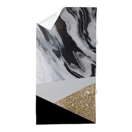 gold glitter marble beach towel