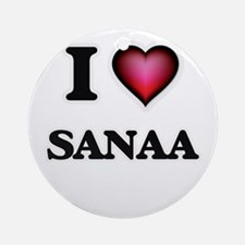 I Love Sanaa Round Ornament