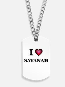 I Love Savanah Dog Tags