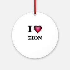 I Love Zion Round Ornament