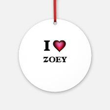 I Love Zoey Round Ornament