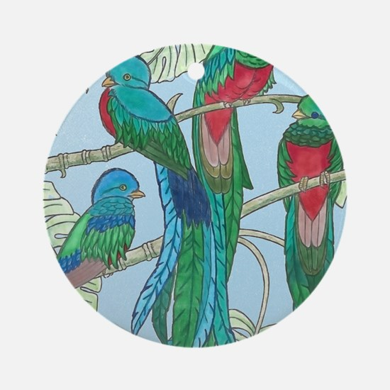 Quetzal Birds Watercolor Round Ornament