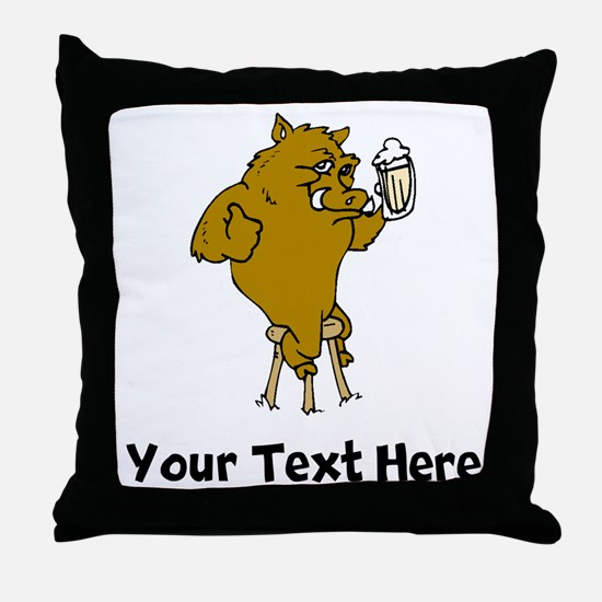 Boar Drinking Beer (Custom) Throw Pillow