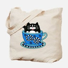 Coffee Cup Cat Tote Bag