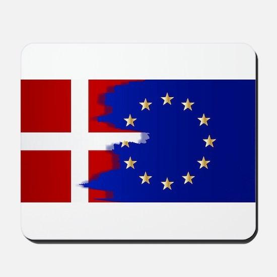 Denmark and EU Flags Blend Mousepad