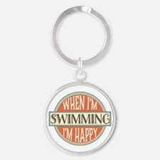 happy swimmer Round Keychain
