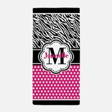 Zebra Print Polka Dots Black and Pink Beach Towel