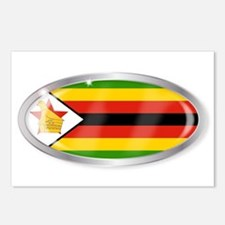Zimbabwe Flag Oval Button Postcards (Package of 8)