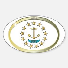 Rhode Island State Flag Oval Button Decal