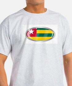 Togo Flag Oval Button T-Shirt
