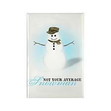 Camoflauge Snowman Rectangle Magnet