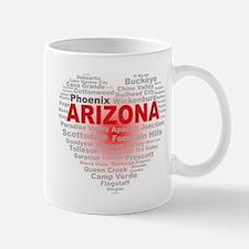 Arizona Word Cloud Heart Mugs