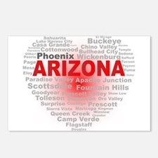 Arizona Word Cloud Heart Postcards (Package of 8)