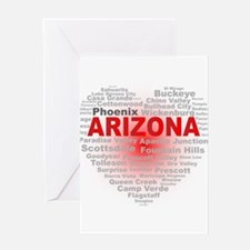 Arizona Word Cloud Heart Greeting Cards