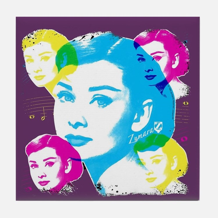 Audrey Hepburn Color Collage Tile Coaster