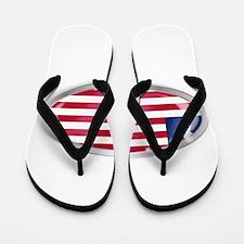 Liberia Flag Oval Button Flip Flops