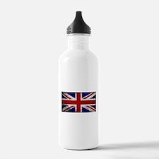 Grunge Union Jack Flag Water Bottle