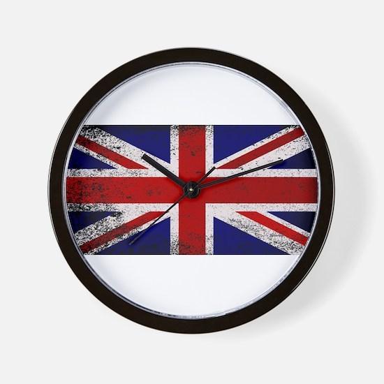 Grunge Union Jack Flag Wall Clock