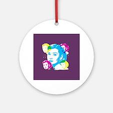 Audrey Hepburn Color Collage Round Ornament