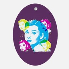 Audrey Hepburn Color Collage Oval Ornament