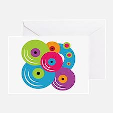 Neon Vinyl Records Greeting Card