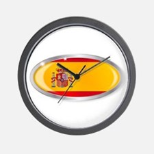 Spanish Flag Oval Button Wall Clock