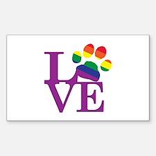LOVE Gay Pride Paw Print Decal