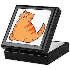 Happy Fat Orange Cat Keepsake Box