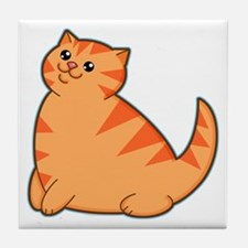 Happy Fat Orange Cat Tile Coaster