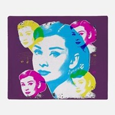 Audrey Hepburn Color Collage Throw Blanket