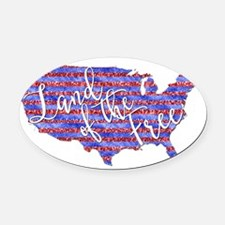 Land of the Free Oval Car Magnet