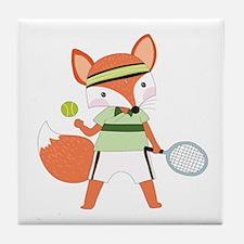 Red Fox Tennis Tile Coaster