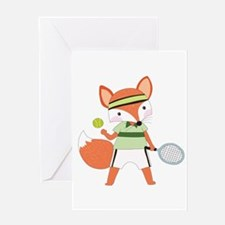 Red Fox Tennis Greeting Card