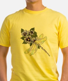 Dragonfly and Pansy Floral T-Shirt