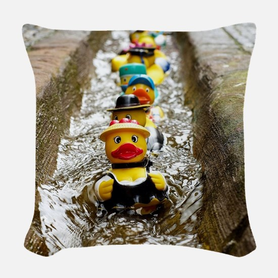 Army of Rubber Ducks Woven Throw Pillow