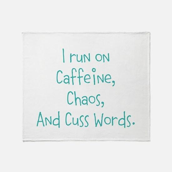 I run on Cafeine Throw Blanket