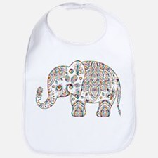 Colorful paisley Cute Elephant Illustration Bib