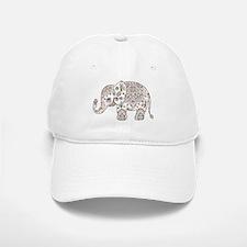 Colorful paisley Cute Elephant Illustration Cap