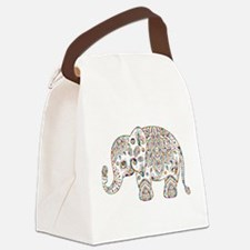 Colorful paisley Cute Elephant Il Canvas Lunch Bag