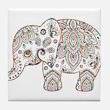 Colorful paisley Cute Elephant Illust Tile Coaster