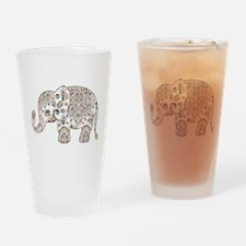 Colorful paisley Cute Elephant Illu Drinking Glass