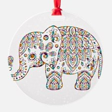 Colorful paisley Cute Elephant Illu Ornament