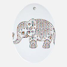 Colorful paisley Cute Elephant Illus Oval Ornament