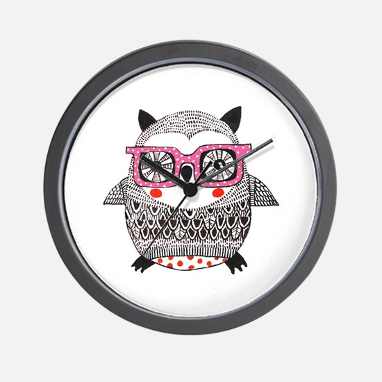 Embroider Look Owl Wall Clock