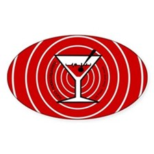 Red Martini Rings Oval Decal