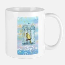 Caged Canary Singing Mugs