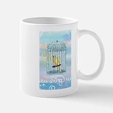 Caged Canary Singing Mugs